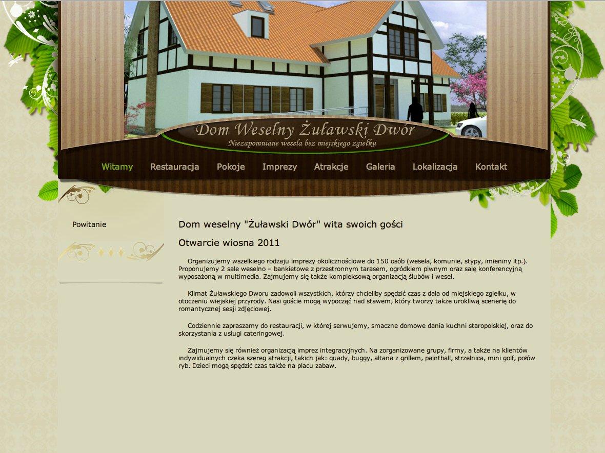 www.zulawskidwor.pl - strona internetowa domu weselnego i restauracji